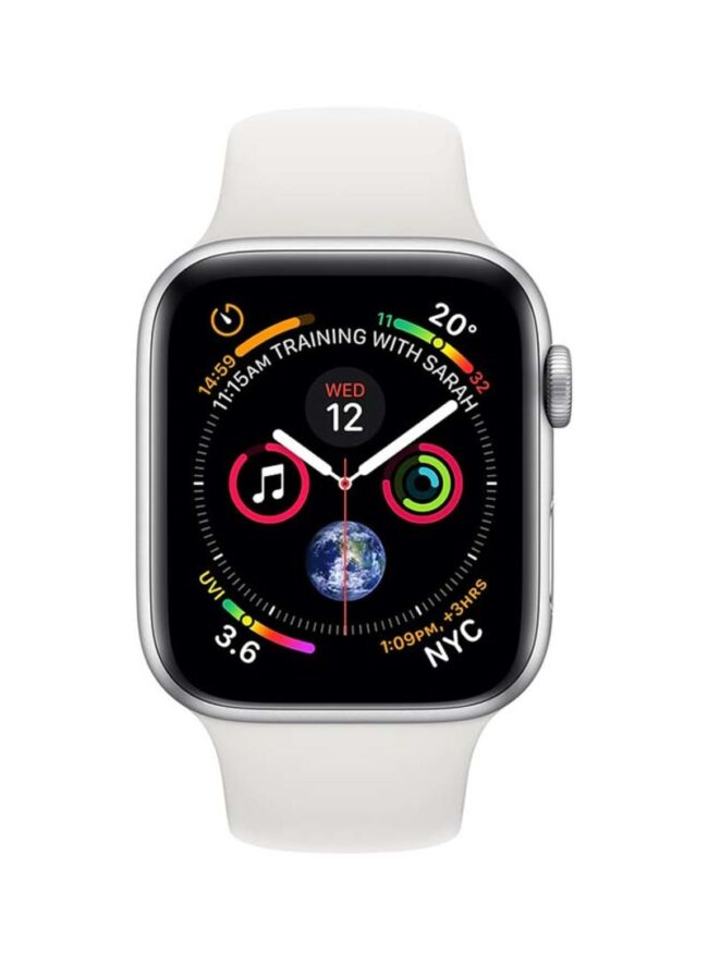Apple Watch Series 4-44 mm GPS 44 mm Silver Aluminium Case With White Sport Band