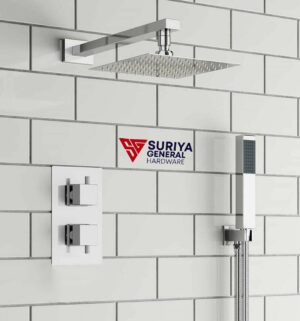 """Thermostatic Shower Mixer Set Exposed Square 8"""" Rain Overhead, Hand Held Shower Head"""